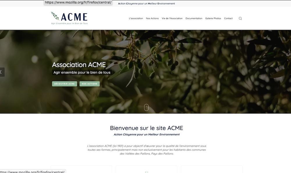 Présentation du site internet acme06.org, et CA élargi